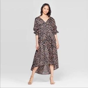 NWT Who What Wear Leopard Hi Low Tiered Dress